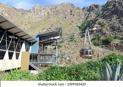 PALM SPRINGS CIRCA APRIL 2018. Tramway under Mount San Jacinto in southern California is an engineering marvel and shuttles tourists up the mountain from the desert below