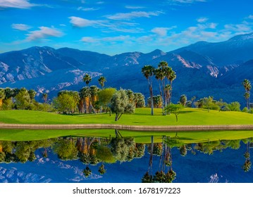 Palm Springs, a city in the Sonoran Desert of southern California, is known for its hot springs, stylish hotels, golf courses and spas. Palm trees and green belts create beauty and a dramatic view.