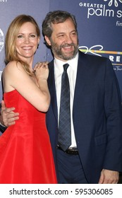 "Palm Springs - JAN 15:  Leslie Mann, Judd Apatow at the Palm Springs International Film Festival - ""The Comedian"" at Palm Springs High School Auditorium on January 15, 2017 in Palm Springs, CA"
