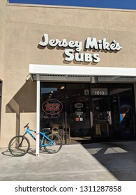 Palm Springs - October 27, 2018:  Jersey Mike's Subs entrance. Jersey Mike's Subs is an American submarine sandwich chain headquartered in Manasquan, New Jersey.