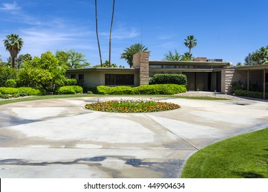 PALM SPRINGS, RIVERSIDE COUNTY, CALIFORNIA, USA - MAY 21: The historic mid century former home of Frank Sinatra has become a popular vistor attraction in the resort town.  It was built in 1947.