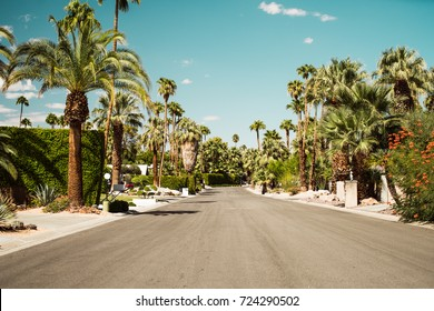 Palm Springs Streets in the Vintage Movie Colony Palm Trees and Mountains and empty road.