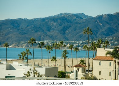 PALM SPRINGS, USA - FEBRUARY 15 2018: View of the buildings surrounded by palm trees in california