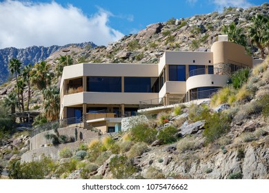 PALM SPRINGS, USA - MARCH 1 2018: View of the house built on the hill
