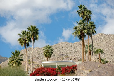 PALM SPRINGS, USA - MARCH 1 2018: View of the house built in the mountains