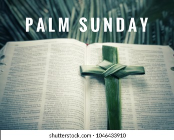 Palm Sunday concept - 'PALM SUNDAY' words with background of blurred images of palm cross, an open Holy Bible and palm leaves.