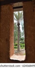 Palm through ancient window