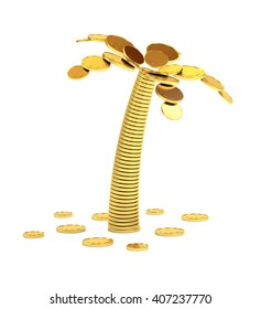 Palm tree from coins isolated on white 3d illustration.