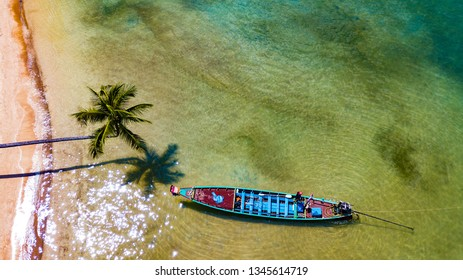 Palm tree and fishing boat at Sairee beach on Koh Tao in Thailand, Asia