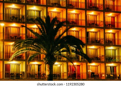 Palm tree and hotels at night in Lloret de Mar, Spain