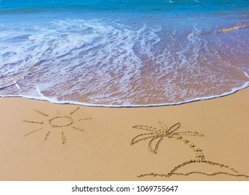 Palm Tree on an island under the sun drawing on wet beach sand and sea wave on background. Summer season holiday, vacation concept.