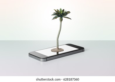 Palm tree on a smart phone with a colorful background