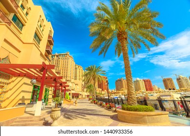 Palm trees along luxury marina corniche walkway promenade in Porto Arabia at the Pearl-Qatar, Doha. Residential skyscrapers on background. Persian Gulf in Middle East. Sunny day, blue sky.
