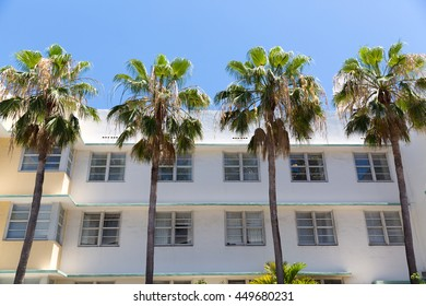 Palm trees in front of the an apartment building