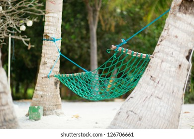 Palm trees and hammock on perfect white sand beach