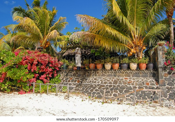 Palm trees and holiday villas on tropical beach, northern coast of Mauritius Island
