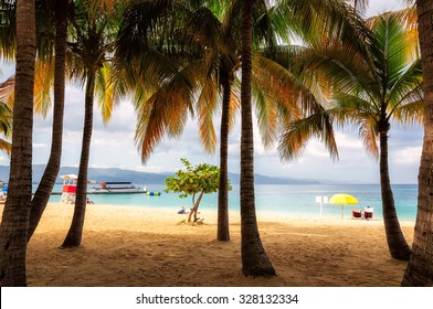 Palm trees on Jamaica beach in Montego bay
