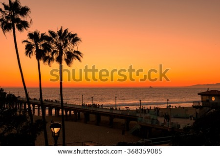 Palm trees on the Manhattan Beach, Pier and beach clock tower, Los Angeles, California