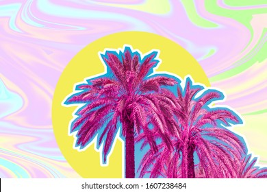Palm trees on psychedelic sky background in tie dye style. Tropical travel concept. Surreal art collage