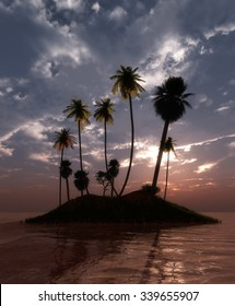 palm trees on a tropical beach and sunset