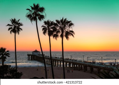 Palm trees and pier at sunset on Los Angeles Beach. Vintage processed. Fashion travel and tropical beach concept.