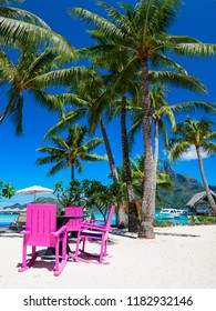 Palm trees with pink chairs in Bora Bora, French Polynesia.