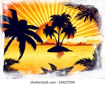 Palm trees silhouette on grunge sunset tropic beach background.