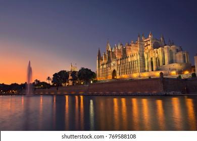 Palma Cathedral at sunset