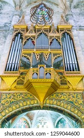 Palma de Majorca, Spain - September 27 20016: The pipe organ in the Cathedral nave