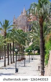 Palma de Mallorca, Balearic Islands, Spain - July 21, 2013: Cathedral of St. Mary of Palma (Cathedral de Santa Maria de Palma de Mallorca)