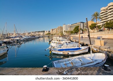 PALMA DE MALLORCA, BALEARIC ISLANDS, SPAIN - DECEMBER 22, 2015: Marina with boats on a sunny day on December 22, 2015 in Palma de Mallorca, Balearic islands, Spain