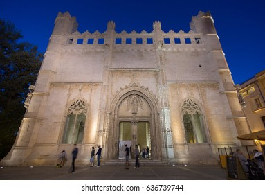 Palma de Mallorca Lonja Night lighting. Majorca gothic architecture. Main facade of the market of the gothic civil. Balearic islands Spain