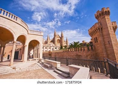 Palma de Mallorca - main landmarks: La Seu Cathedral and Almudaina castle from the terrace of Palau March Museu