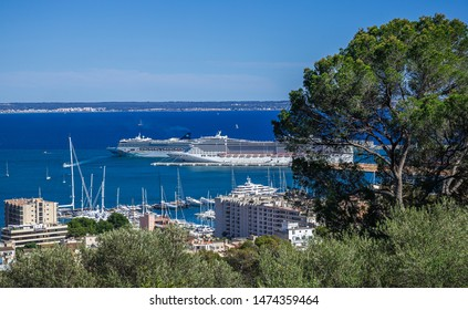 Palma de Mallorca, Spain - 22.05.2019: Panoramic view of the port of Palma de Mallorca, Spain