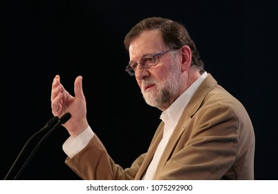Palma de Mallorca, Spain. April 21, 2018. Spain Prime Minister Mariano Rajoy gestures during his speech on a tourism convention in the Spanish island of Mallorca