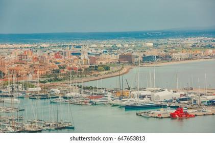 PALMA DE MALLORCA, SPAIN - April 5, 2017: Areal view of the port of Palma, the capital of Mallorca island