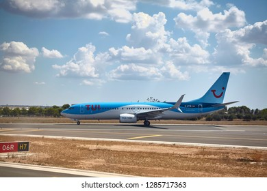 Palma de Mallorca, Spain - August 21, 2018: TUI operator Boeing 737 800 taxis on the tarmac.