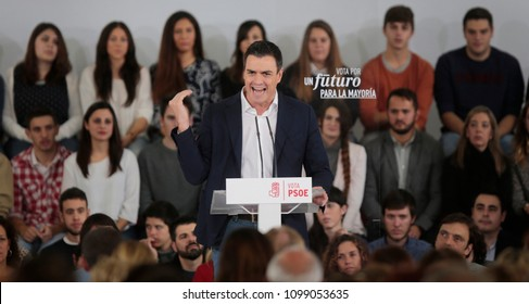 Palma de Mallorca, Spain / December 5, 2015: Leader of socialist political party Pedro Sanchez gestures during a rally in the Spanish island of Mallorca.