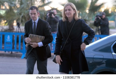 Palma de Mallorca, Spain / February 26, 2016: Spain Royal Infanta Cristina and husband Inaki Urdangarin arrives to Palma de mallorca court after testifying accused on case Noos for fraud and embezzlem
