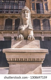 PALMA DE MALLORCA, SPAIN - FEBRUARY 9, 2019: One of the sphinxes on Paseo Borne in sunshine on February 9, 2019 in Palma de Mallorca, Spain.