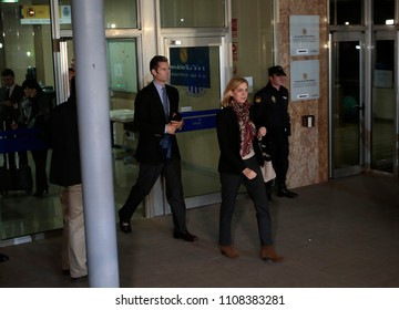 Palma de Mallorca, Spain / January 11, 2016: Spain Royal Infanta Cristina and husband Inaki Urdangarin leaves Palma de mallorca court after testifying accused on case Noos for fraud and embezzlement.
