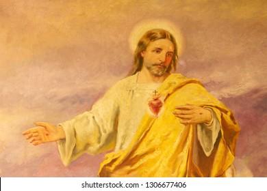 PALMA DE MALLORCA, SPAIN - JANUARY 29, 2019: The painting of Heart of Jesus in the Capuchin church.