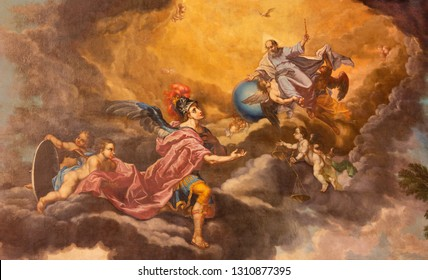 PALMA DE MALLORCA, SPAIN - JANUARY 27, 2019: The painting of God the Creator and St. Michael archangel in presbytery of church San Miguel by Juan Muntaner Cladera (end of 18. cent.).