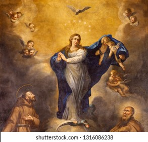 PALMA DE MALLORCA, SPAIN - JANUARY 29, 2019: The painting of Immaculate Conception in the Capuchin church by Joan Muntaner Cladera (1744-1802).