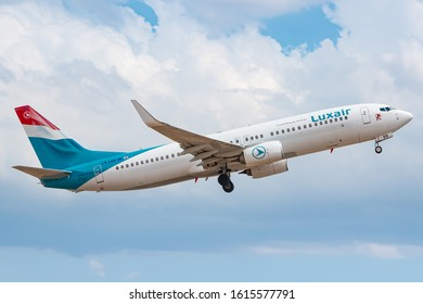 Palma de Mallorca, Spain - July 21, 2018: Luxair Boeing 737 airplane at Palma de Mallorca airport (PMI) in Spain. Boeing is an aircraft manufacturer based in Seattle, Washington.