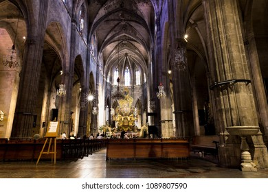 Palma de Mallorca, Spain. June 26, 2017. Tour of the historic center of Palma. Interior of the church of Santa Eulalia, in it, was crowned King of Mallorca, Jaime II