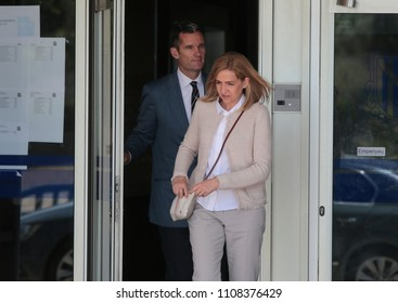 Palma de Mallorca, Spain / June 10, 2016: Spain Royal Infanta Cristina and husband Inaki Urdangarin leaves Palma de mallorca court after testifying accused on case Noos for fraud and embezzlement.