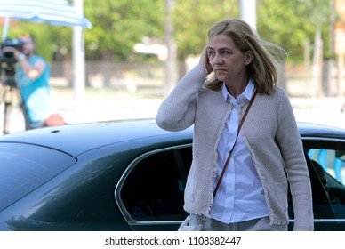 Palma de Mallorca, Spain / June 10, 2016: Spain Royal Infanta Cristina and husband Inaki Urdangarin arrives to Palma de mallorca court after testifying accused on case Noos for fraud and embezzlement.