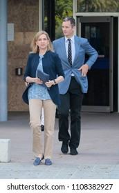 Palma de Mallorca, Spain / June 14, 2016: Spain Royal Infanta Cristina and husband Inaki Urdangarin leaves Palma de mallorca court after testifying accused on case Noos for fraud and embezzlement.