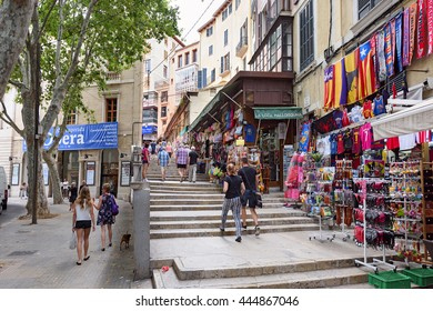 PALMA DE MALLORCA, SPAIN - JUNE, 16. Shopping street in the center of Palma de Majorca on June 16, 2016, Spain.